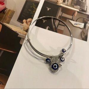 Silver Hamsa & Evil Eye Bangle Bracelet